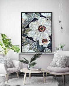 Mosaic Decor - Handmade Mosaic Art - Mosaic Wall Art - Mosaic Designs - Floral Mosaic - Mosaic Floral Art - Framed Mosaic Art - Floral Mosaic Pattern - Flower Mosaic