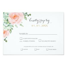 Watercolor Wedding Invitation watercolor succulent peach roses wedding rsvp card
