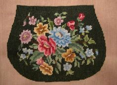 Items similar to Vintage Fabric Panel PETIT POINT Floral Purse Piece / Evening Bag Front - Completed on Cotton w/ Embroidered Needlepoint Tapestry Stitching on Etsy Oval Frame, Vintage Textiles, Fabric Panels, Victorian Fashion, Cotton Canvas, Needlepoint, Colorful Backgrounds, Needlework, Tapestry