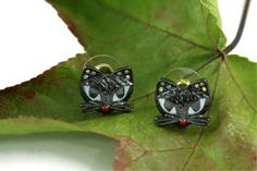 Halloween Black Cat Earrings, Cat Jewelry, Bad Kitty Earrings, Black Cat Stud Earrings, Halloween Jewelry, Witch Jewelry on Etsy, $11.24 CAD