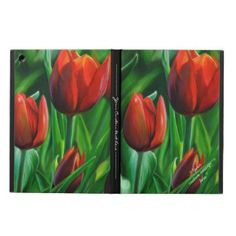 Cool Tattoo Oriental and Japanese Fine Art - Customizable Gifts and Home Decoration from Zazzle: Trio of Red Tulips flower nature digital painting iPad Air Cover #ipad #air #case #cover #sleeve #tulip #flower #red #painting #dedication #digital