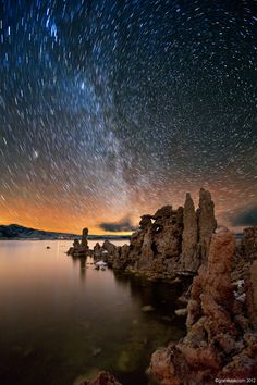 Mono South Tufa Stars, Mono Lake, California.  Camped here under the stars and danced with lightning during a storm.