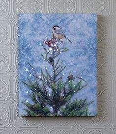 Winter Chickadee lighted picture.  The lights in the star and on the tree light up and softly flicker. Shelley B Home and Holiday