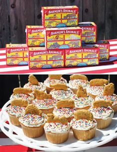 Backyard Big Top Circus First Birthday Party // Hostess with the Mostess® Circus birthday party — love these simple cupcakes topped with animal crackers Circus Carnival Party, Circus Theme Party, Carnival Birthday Parties, First Birthday Parties, First Birthdays, Carnival Cupcakes, Circus Theme Cupcakes, Circus Food, Safari Party
