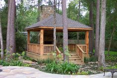 Country gazebo and fireplace | Coutry gazebo with ledgestone… | Flickr