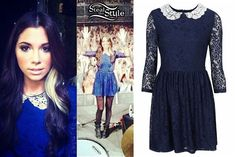 Christina Perri: Blue Lace Peter Pan Collar Dress - Christina Perri performed in Helsinki Finland last night wearing the Lace Peter Pan Dress from Topshop ($96.00 or £48.00 UK). This navy blue dress is very similar to the white and black peter pan collar dress by TFNC which she wore back in January.