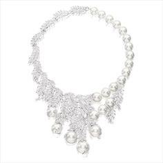 UNIQUE SOUTH SEA CULTURED PEARL AND DIAMOND NECKLACE  Of foliage design, the necklace composed of twenty-two round South Sea cultured pearls measuring from 18 to 12.5mm, to stylised foliage motifs set with circular-cut diamonds. Mounted in 18 karat white gold.