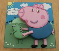 George Pig (Peppa Pig) Cake - Bolo do George e Sr. Tarta George Pig, Peppa Pig Y George, George Pig Cake, George Pig Party, Cake Pops, Cumple Peppa Pig, Peppa Pig Birthday Cake, Cupcakes, Pig Cakes