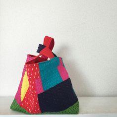 masami yokoyama collage+stitch bag