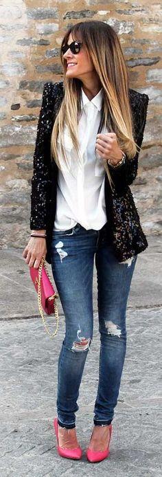 Black Sequin Blazer Casual Chic Streetstyle
