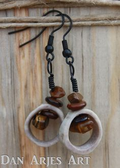 Small Antler Dangle Earrings Hollow with Beads by TheAntlerArtisan, $12.00
