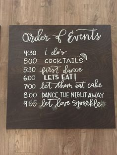 Wedding Order of Events Timeline Sign by OldCityCalligraphy More