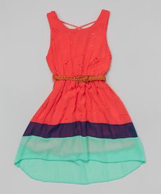 Love this Coral Floral Color Block Belted Hi-Low Dress - Girls by Just Kids on #zulily! #zulilyfinds