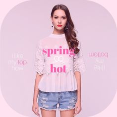 Scalloped lace boosts the feminine romance of a floaty blouson-sleeve top O-Neck collar Casual style Chiffon and lace Half sleeve length Polyester and cotton Si
