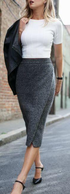 Grey maxi skirt white top