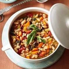 Mediterranean Kale & Cannellini Stew with Farro The fire-roasted tomatoes add a smoky undertone to this satisfying Italian soup. If you can't find them, feel free to use regular diced tomatoes.