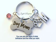 Dog Mom KeyChain Doggy Mom Keyring Dog Paw Print Charm Dog Breeder Key chain Personalized Initial Birthstone birthday present Christmas Gift  A personal favorite from my Etsy shop https://www.etsy.com/ca/listing/468896285/dog-mom-keychain-doggy-mom-keyring-dog