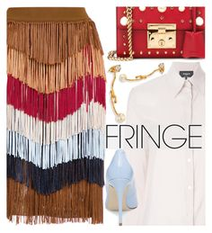 """""""Shimmy Shimmy: Fringe"""" by maranella ❤ liked on Polyvore featuring nk, Rochas, Gucci, Steve Madden, Chloé and fringe"""