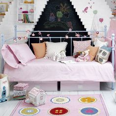 Girl's bedroom furniture ideas    3) Pick versatile furniture.   A day bed will last through to her teens, doubling as a sofa for reading or chatting to friends.