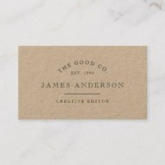 Shop Vintage Kraft Business Card created by ellyliyana. Business Holiday Cards, Vintage Business Cards, Modern Business Cards, Custom Business Cards, Business Gifts, Business Card Size, Professional Business Cards, Business Card Design, Business Branding