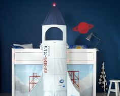 This creative kids bed comes complete with space ship curtains to cover under the bed, (this area can be used as a play den, homework area or for storage), ladder, discovery shutter for ladder and safety rail bars.