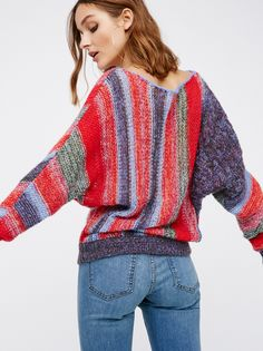 Horizon Pullover | Gorgeous multi-colored sweater with a super soft and lightweight feel. Femme off-shoulder design with an easy, drapey shape that fits at the hem.