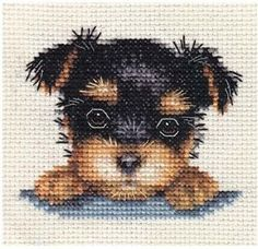YORKSHIRE-TERRIER-PUPPY-Dog-Full-counted-cross-stitch-kit-All-materials