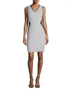 Sleeveless Striped A-Line Dress, Black/White