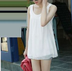 Round Neck Sleeveless Casual Chiffon Long T-shirt