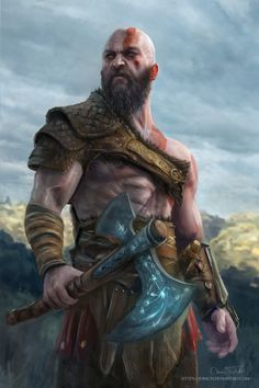 God of War Kratos by Jorsch Two.fucking dayyssssssss - - Ideas of - God of War Kratos by Jorsch Two. Character Concept, Character Art, Tableau Star Wars, Vikings, Kratos God Of War, Hello Kitty Wallpaper, Marvel, Fantasy Warrior, Character Portraits