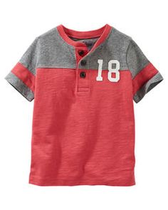Toddler Boy Varsity Raglan Henley from OshKosh B'gosh. Shop clothing & accessories from a trusted name in kids, toddlers, and baby clothes. Baby Boy Dress, Baby Boy Outfits, Best Kids Watches, Baby Boy Tops, Camisa Polo, Kids Fashion Boy, Baby Kids Clothes, Boys T Shirts, Kids Wear