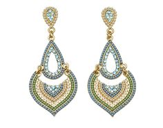 Amazon.com : 3in Exotic Gold Tone Fashion Earrings with Blue, Green and White Beads