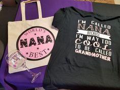 Nana shirt, tote bag and wine glass