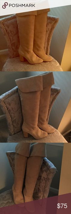 """Above knee suede leather boots with cuff. New neutral color suede leather heeled boots.  3 1/2 """" heels. Cuffed tops. Never worn. Kimchi Blue Shoes Over the Knee Boots"""