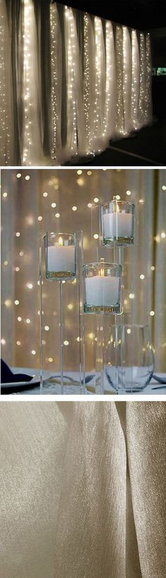 use gold organza and fairy lights to make curtains for back drop