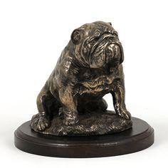 Bulldog sitting dog wooden base statue limited by ArtDogshopcenter
