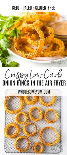 Air Fryer Keto Onion Rings Recipe Air Fryer Keto Onion Rings Recipe - This keto air fryer onion rings recipe is SO CRISPY, with 7 ingredients! Learning how to make onion rings in the air fryer is the key to keto onion rings that are just as crispy as real Air Fryer Recipes Potatoes, Air Fryer Recipes Keto, Air Fry Recipes, Real Food Recipes, Chicken Recipes, Healthy Recipes, Keto Recipes, Skillet Recipes, Pizza Recipes