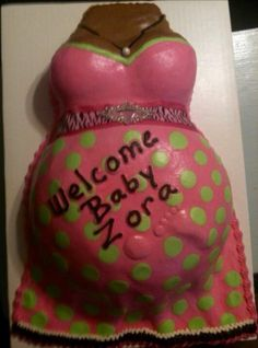 Pink & Lime Green Dress Baby Belly