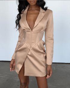 """MIKA"" V Neck Blazer Dress Source by dress outfits Tux Dress, Blazer Dress, Mode Outfits, Dress Outfits, Fashion Dresses, Fashion Clothes, Casual Dresses, Look Fashion, High Fashion"