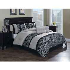 Chic Home Caleb Hotel Collection Taupe Detailed Embroidery Comforter Set (Queen), Grey (Microfiber, Color Block) Bed Sets, Queen Comforter Sets, Bedding Sets, Zebra Bedding, Black Comforter, Striped Bedding, Dorm Bedding, Duvet, Pillow Shams
