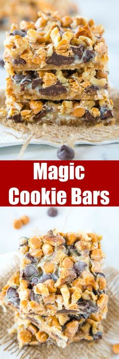 Magic Cookie Bars - These bars come together in one pan and are so easy to make. Layers of graham crackers, chocolate, butterscotch, coconut, nuts and sweetened condensed milk. Easy No Bake Desserts, Just Desserts, Delicious Desserts, Yummy Food, Traditional Easter Desserts, Magic Cookie Bars, Homemade Snickers, Cheesecake Desserts, Cookie Desserts