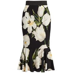Dolce & Gabbana Tulip-print stretch-silk skirt ($1,395) ❤ liked on Polyvore featuring skirts, bottoms, white multi, white tulip skirt, patterned skirts, white flounce skirt, print skirt and white skirt