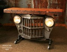 Industrial Console Table from Reclaimed Antique Jeep CJ Military Willys Grille, Steampunk Console Small Table, lamp Stand - Love this & would be cool in a reception area as an entry table. Industrial Design Furniture, Vintage Industrial Furniture, Industrial House, Industrial Interiors, Furniture Design, Furniture Ideas, Furniture Stores, Industrial Chair, Industrial Bathroom