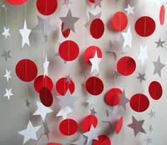 Paper Garland, 12 Feet Long, Holiday Decor, Red and White Circles and Stars