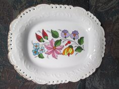 Kalocsa Porcelain Beautiful Plate laced with 24k Gold in Pottery & Glass, Pottery & China, China & Dinnerware   eBay