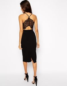 Oh My Love Midi Bodycon Dress with Lace Plunge Neck And Open Lace Back