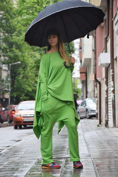 Green Sports Set / Made of Cotton / Drop Crotch by SSDfashion