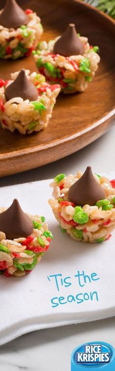 Chocolatey kisses are nestled all snug in their Rice Krispies® beds. For an extra festive twist, make these Holiday Blossoms with Rice Krispies® Holiday Edition cereal. #RiceKrispies #HolidayBaking #HolidayTreats #EdibleGifts #Blossoms