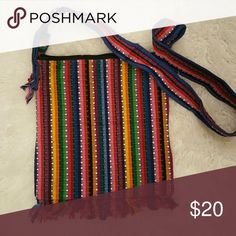 Totally cool embroidered rainbow bag Central American inspired embroidered rainbow bag with zippered top. Bags Shoulder Bags