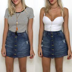 Saia jeans cintura alta!  Compre pelo site http://ift.tt/PYA077.  Dúvidas ou informações pelo whats 47 9953-1716.  Agende sua visita em nosso showroom em Jaraguá do Sul!